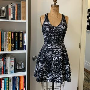 Racerback Neoprene Printed Fit and Flare Dress
